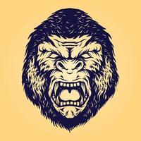 illustration isolée de tête de gorille en colère vecteur