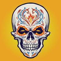 tatouage de crâne de sucre dia de los muertos vecteur