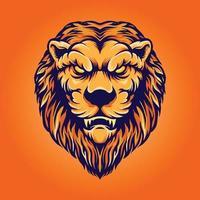 tête de lion caractère vintage vecteur