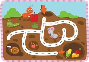 jeu de labyrinthe éducatif pour l'illustration des enfants vecteur