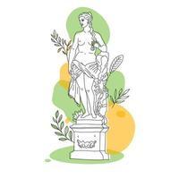 ancienne statue de la déesse grecque en ligne continue. illustration vectorielle. dessin moderne. parc dans le style summer.oneline. vecteur