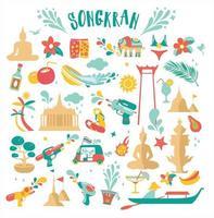 Songkran célébration party set icons vector illustration design pour le nouvel an thaïlandais
