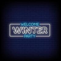 bienvenue hiver fête néon signe style texte vecteur