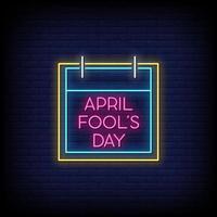jour du poisson d'avril vecteur de texte de style enseignes au néon