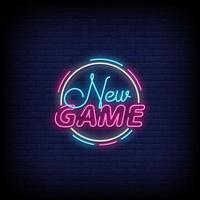 nouveau vecteur de texte de style néon de jeu