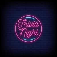 trivia nuit néon signes style texte vecteur