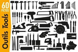 pictogrammes de signalisation sur les outils de bricolage et de décoration vecteur