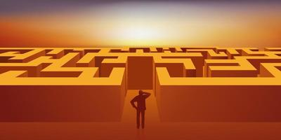 un homme doit trouver le moyen de sortir d'un labyrinthe. vecteur