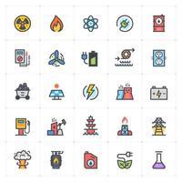 énergie et ligne électrique avec des icônes de couleur. illustration vectorielle sur fond blanc. vecteur
