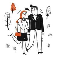 couple marchant dans le parc vecteur