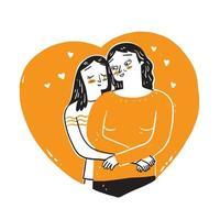 l'amour de la fille et de la mère. vecteur