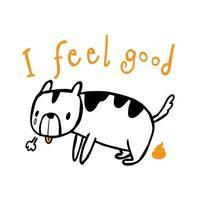 chien va à la salle de bain et ne se sent pas bien, illustration dans le style de doodle art en ligne vecteur