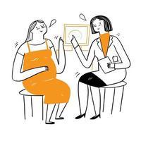 beau médecin donne des conseils aux patients sur la maladie ou la grossesse. vecteur