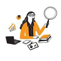 illustration d & # 39; une femme d & # 39; affaires de recherche vecteur