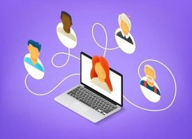 personnes travaillant ensemble à distance via Internet. illustration vectorielle de style 3d isométrique vecteur