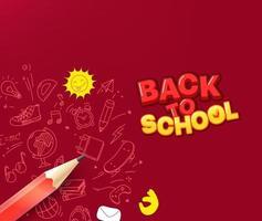 retour au concept de l'école. crayon avec des éléments de griffonnage vecteur