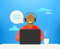 concept de service client. jeune homme afro sur hotline vecteur