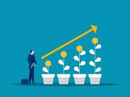 homme d & # 39; affaires à la recherche de marché boursier grandir illustrateur de vecteur de concept d & # 39; investissement