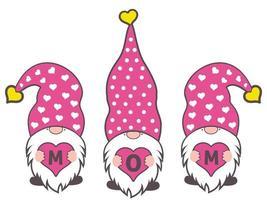 trois gnomes tenant le mot de maman sur l'illustrateur de vecteur de fête des mères.