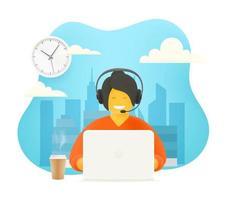 concept de support hotline. femme travaillant avec des gens. Illustration mignonne de style 3D vecteur