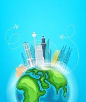 concept de destination de voyage avec des bâtiments. bannière verticale vecteur
