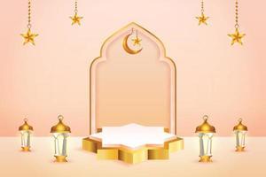 Affichage de produit 3D couleur pêche et or sur le thème du podium islamique avec croissant de lune, lanterne et étoile pour le ramadan vecteur