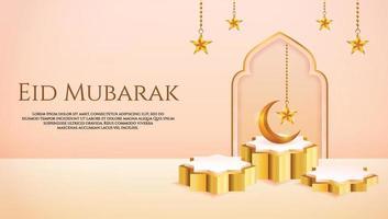 Affichage de produit 3D couleur pêche et or sur le thème du podium islamique avec croissant de lune et étoile pour le ramadan vecteur