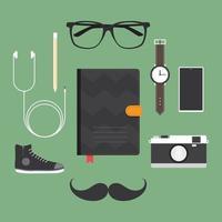 ensemble d'accessoires hipster vecteur