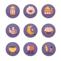 jeu d'icônes eid al-adha mubarak vecteur