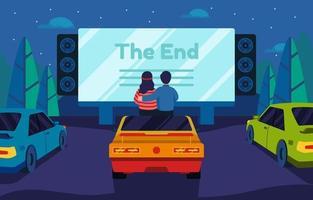 couple datant dans le cinéma drive-in vecteur