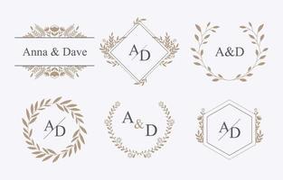 modèle initial de monogramme de feuillages de mariage vecteur