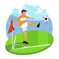 joueur de football, coup de pied, balle, concept vecteur