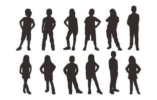 enfants dans diverses poses silhouette collection vecteur