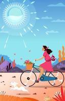 fille heureuse faire du vélo en été vecteur