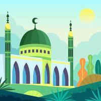 bâtiment de la mosquée islamique vecteur