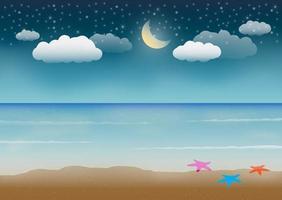 scène de plage de mer de nuit vecteur