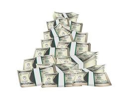 Pile de billets pack sur fond blanc vecteur
