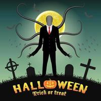 Halloween homme grand mince dans un cimetière de nuit vecteur