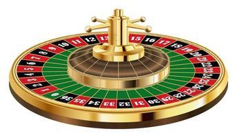 Roulette de casino avec ballon sur fond blanc vecteur