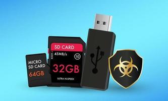 carte sd carte micro sd et clé USB avec un ordinateur antivirus de bouclier de protection vecteur
