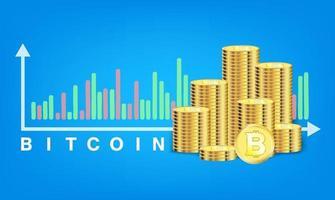 tas de vecteur de pièces de monnaie bitcoin doré