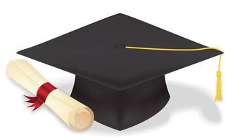 chapeau de graduation étudiant avec diplôme vecteur eps10