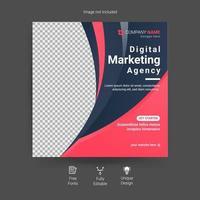 modèle de publication sur les médias sociaux de l'agence de marketing numérique. agence de marketing numérique, modèle de flyer carré, modèle de publication de bannière web modifiable, expert en marketing vecteur