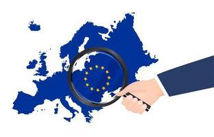 loupe recherche sur le vecteur de la carte de l'europe
