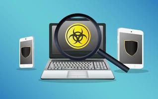 smartphone et tablette protégés contre les virus et les virus détectés par un ordinateur portable vecteur