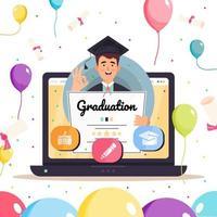 L'homme tient son concept d'éducation en ligne diplômé de certificat vecteur