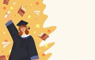 étudiante heureuse de femmes diplômée du concept de fond d'éducation vecteur