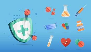webbig set icône médicale et de soins de santé. style plat et design coloré. illustration vectorielle vecteur