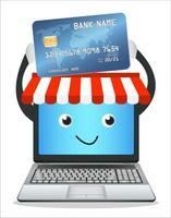 boutique en ligne d'ordinateur portable avec carte de crédit vecteur
