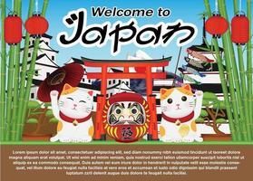 bienvenue au japon avec chat maneki et poupée daruma vecteur